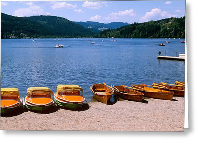 Docked Boats Greeting Cards - Row Of Boats In A Dock, Titisee, Black Greeting Card by Panoramic Images