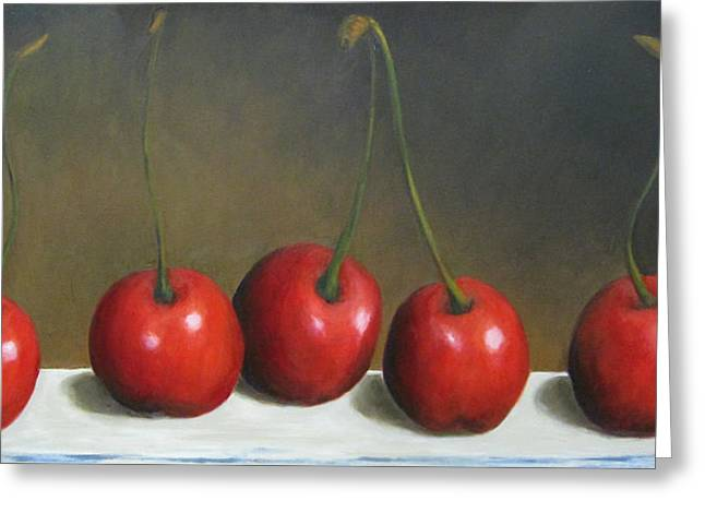 Marie-louise Paintings Greeting Cards - Row of Cherries Greeting Card by Marie-louise McHugh