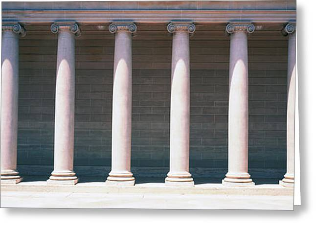 Repetition Greeting Cards - Row Of Columns San Francisco Ca Greeting Card by Panoramic Images