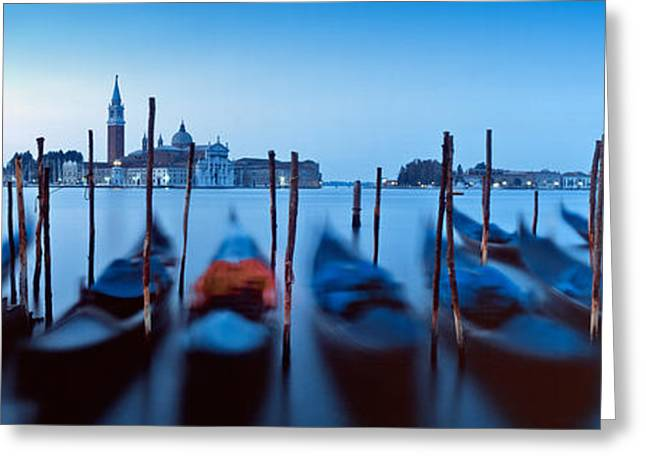 Wooden Building Greeting Cards - Row Of Gondolas Moored Near A Jetty Greeting Card by Panoramic Images