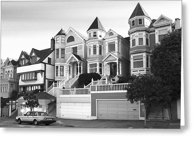 Rent House Greeting Cards - ROW of GRAND VICTORIAN HOMES - SAN FRANCISCO Greeting Card by Daniel Hagerman