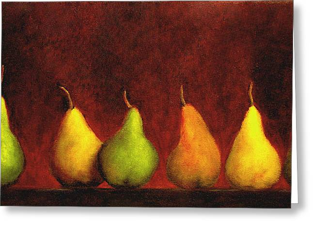 Marie-louise Paintings Greeting Cards - Row of Pears Greeting Card by Marie-louise McHugh