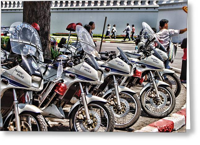 Grau Greeting Cards - Row of Police Bikes Greeting Card by Linda Phelps