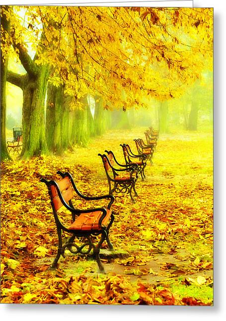 Garden Scene Digital Art Greeting Cards - Row of red benches in the park Greeting Card by Jaroslaw Grudzinski