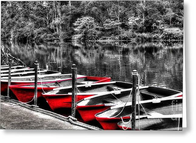 Reflections In River Greeting Cards - Row of Red Rowing Boats Greeting Card by Kaye Menner