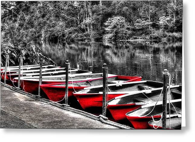 White River Scene Greeting Cards - Row of Red Rowing Boats Greeting Card by Kaye Menner
