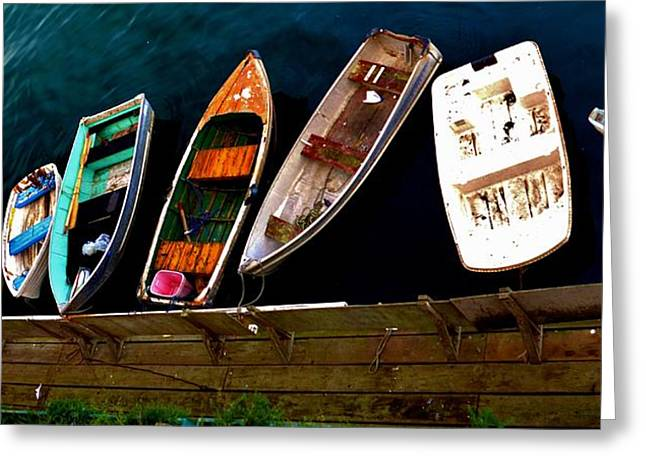 Monterey Ocean Scene Greeting Cards - Row Of Rowboats  Greeting Card by Barbara Snyder