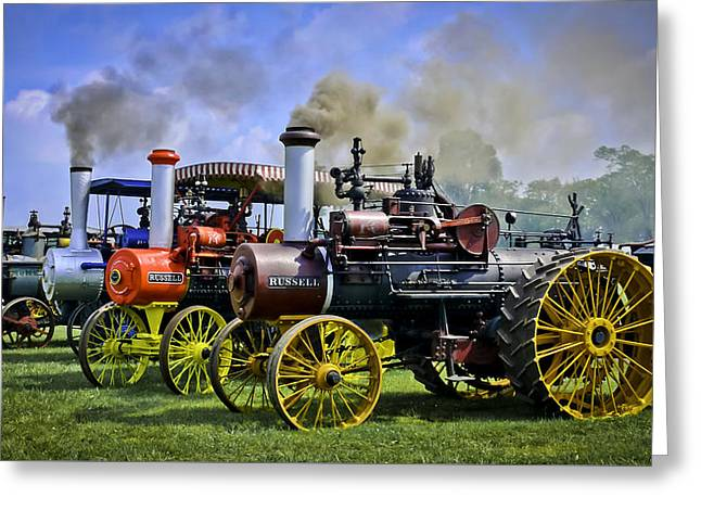 Steamer Truck Greeting Cards - Row Of Russell Steam Tractors Greeting Card by F Leblanc