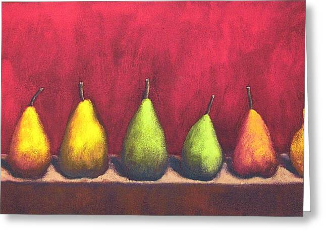 Marie-louise Paintings Greeting Cards - Row of Seven Pears Greeting Card by Marie-louise McHugh