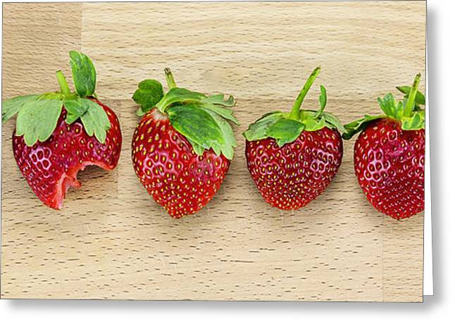 Organic Pastels Greeting Cards - Row of Strawberries  Greeting Card by Svetlana Sewell