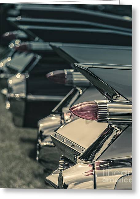 Fin Greeting Cards - Row of vintage car fins Greeting Card by Edward Fielding
