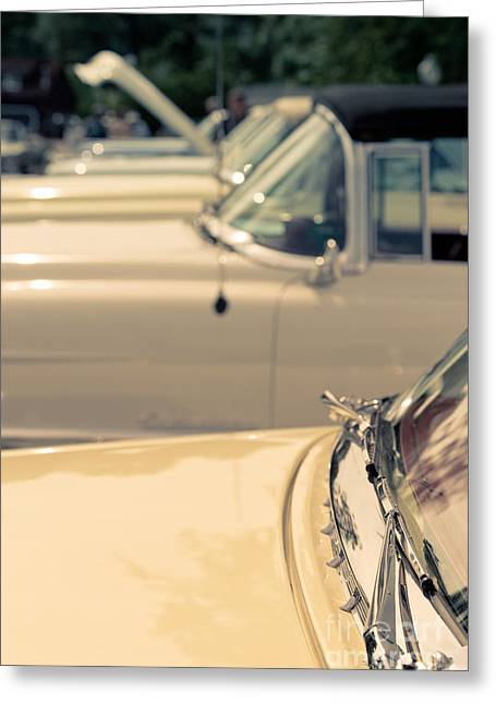 Caddy Greeting Cards - Row of vintage cars Greeting Card by Edward Fielding