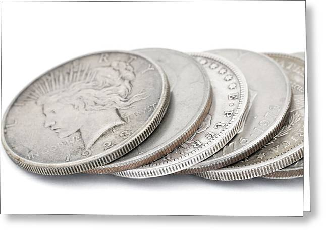 Pay The Piper Greeting Cards - row of vintage silver USA dollars Greeting Card by Donald  Erickson