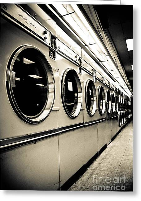 Laundry Mat Greeting Cards - Row of Washing Machines in Laundromat Greeting Card by Amy Cicconi