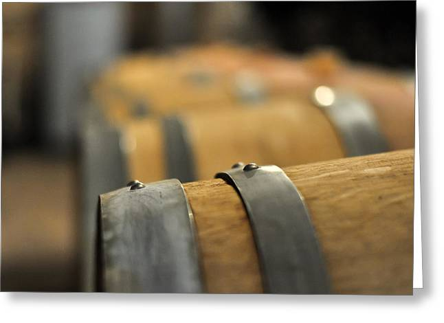 Winetasting Greeting Cards - Row Of Wine Barrels Greeting Card by Bernd Goettlicher