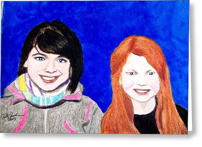 Young Lady Pastels Greeting Cards - Rowan and Sydney Greeting Card by Cathy Jourdan