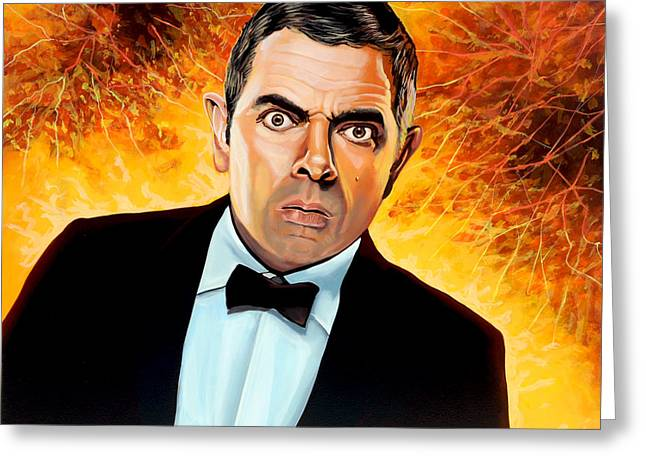 British Portraits Greeting Cards - Rowan Atkinson alias Johnny English Greeting Card by Paul  Meijering