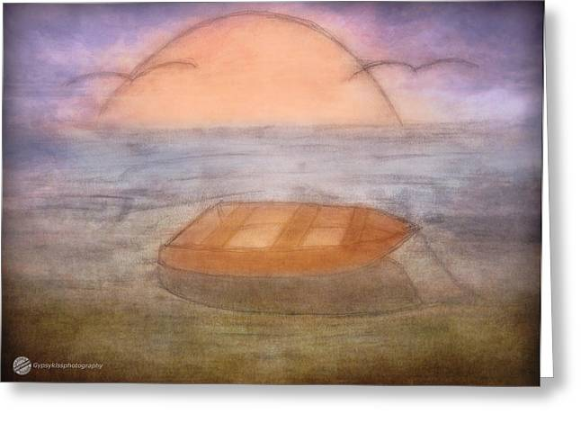 Wooden Ship Drawings Greeting Cards - Rowboat Afloat  Greeting Card by Todd and candice Dailey