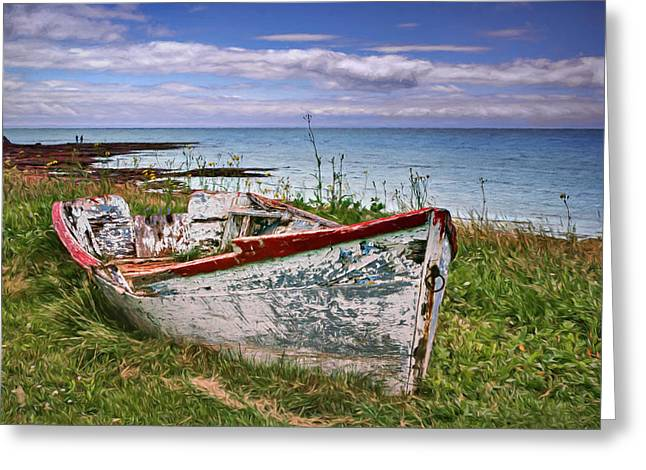 Rowboat At Point Prim Greeting Card by Nikolyn McDonald