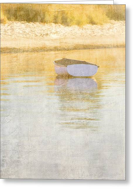 Early Morning Sun Greeting Cards - Rowboat in the Summer Sun Greeting Card by Carol Leigh
