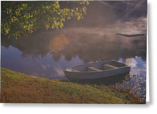 Row Boat Photographs Greeting Cards - Rowboat Lake Nh Greeting Card by Panoramic Images
