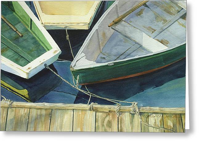 Rowboat Trinity II Greeting Card by Marguerite Chadwick-Juner