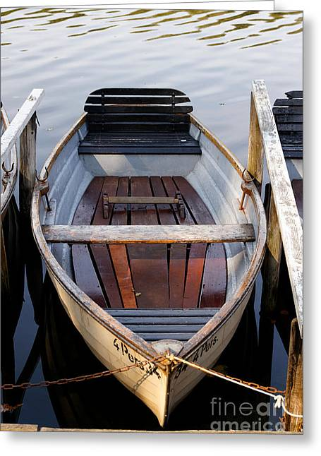 Fishing Boats Greeting Cards - Rowboats at the Schlachtensee Greeting Card by Jannis Werner