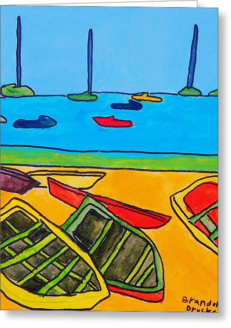 Brandon Drucker Greeting Cards - Rowboats Greeting Card by Brandon Drucker