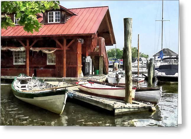 Alexandria Virginia Greeting Cards - Alexandria VA - Rowboats by Founders Park Greeting Card by Susan Savad