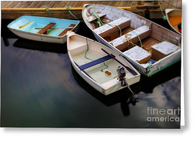 Dinghy Greeting Cards - Rowboats Greeting Card by Diane Diederich