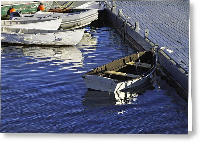 New England Ocean Greeting Cards - Rowboats Docked on The Coast Of Maine Greeting Card by Keith Webber Jr