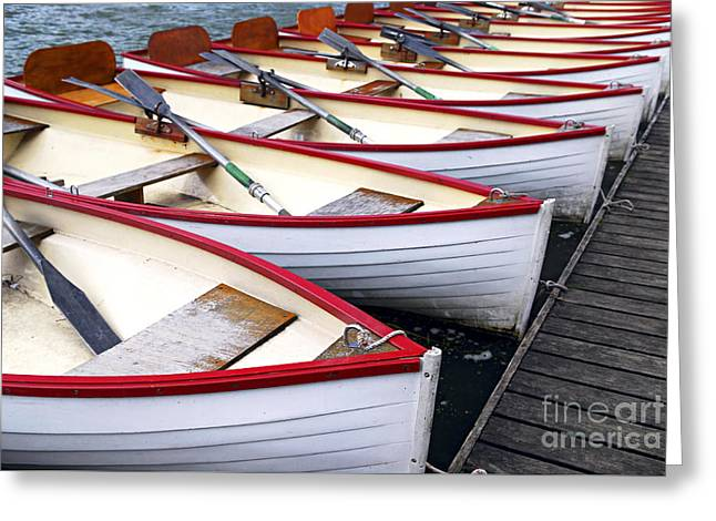 Boats. Water Greeting Cards - Rowboats Greeting Card by Elena Elisseeva