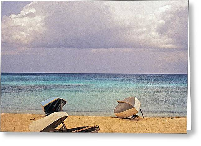 Summer Storm Greeting Cards - Rowboats on a Barbados Beach Greeting Card by Stuart Litoff