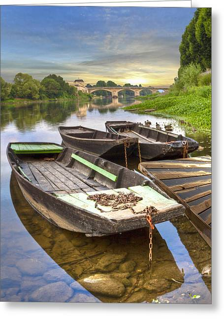 Swiss Photographs Greeting Cards - Rowboats on the French Canals Greeting Card by Debra and Dave Vanderlaan