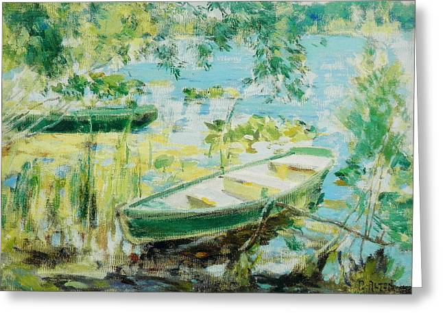 Puddle Paint Greeting Cards - Rowboats Reeds Lake Greeting Card by Mathias Alten