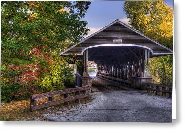 New England Covered Bridges Greeting Cards - Rowell Covered Bridge in Fall Greeting Card by Joann Vitali