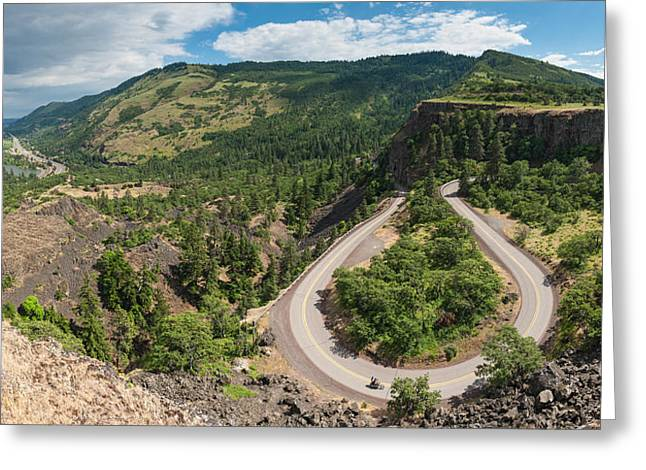 State Parks In Oregon Greeting Cards - Rowena Loops riders Columbia River Gorge Oregon Greeting Card by William Fawcett