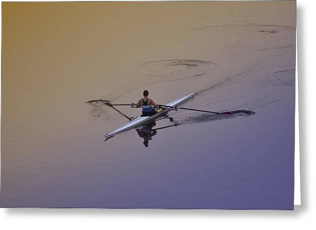 Philadelphia Digital Greeting Cards - Rower Greeting Card by Bill Cannon