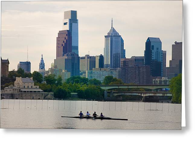 Cityhall Greeting Cards - Rowers in Philadelphia Greeting Card by Bill Cannon