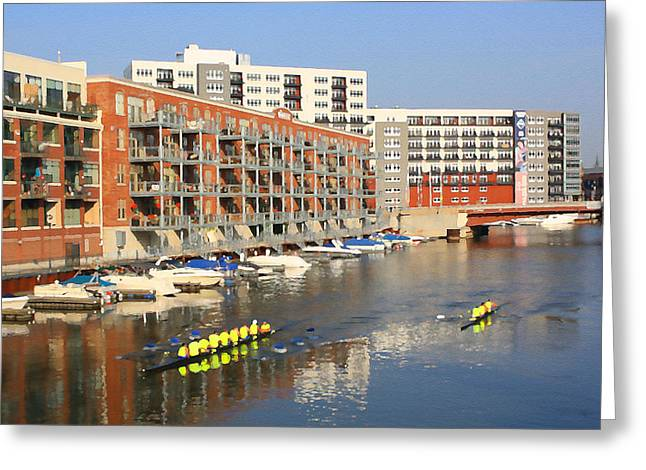 Rowers Milwaukee River 2 Greeting Card by Geoff Strehlow