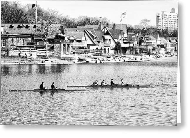 Rowing Crew Digital Art Greeting Cards - Rowing Along the Schuylkill River in Black and White Greeting Card by Bill Cannon