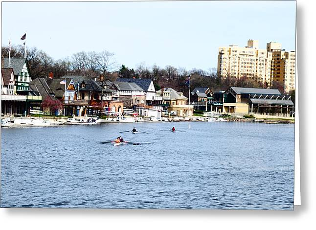 Rowing Crew Digital Art Greeting Cards - Rowing at Boathouse Row Greeting Card by Bill Cannon
