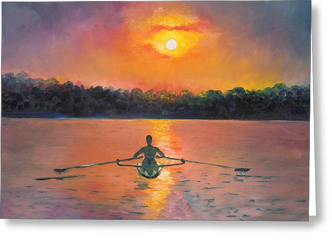 Eve Greeting Cards - Rowing Away Greeting Card by Eve  Wheeler