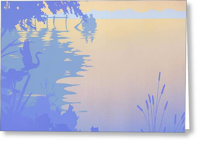 Water Themed Paintings Greeting Cards - Rowing Back To The Boat Dock At Sunset Abstract Greeting Card by Walt Curlee