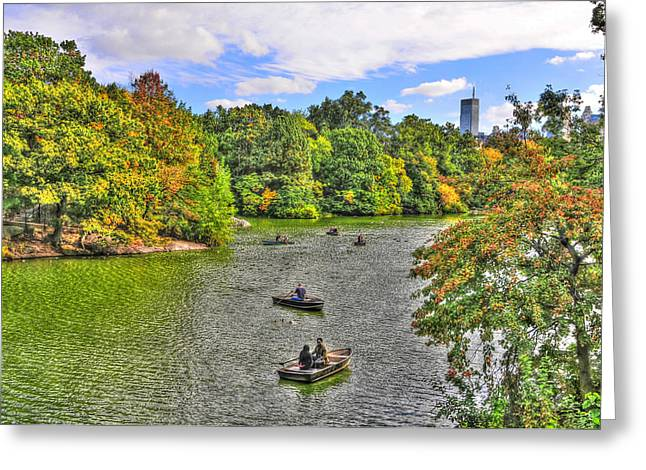 Row Boat Greeting Cards - Rowing Boats on the Central Park Lake Greeting Card by Randy Aveille
