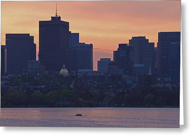 Charles River Greeting Cards - Rowing Boston Greeting Card by Juergen Roth