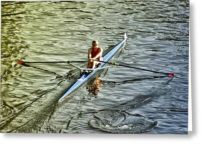 Rowing Greeting Cards - Rowing Crew Greeting Card by Bill Cannon
