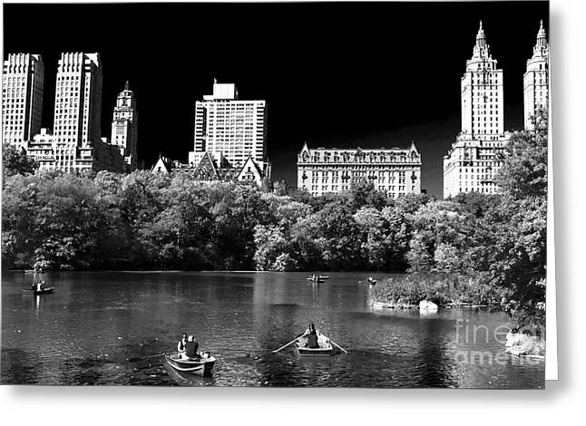 Old School Galleries Greeting Cards - Rowing in Central Park Greeting Card by John Rizzuto