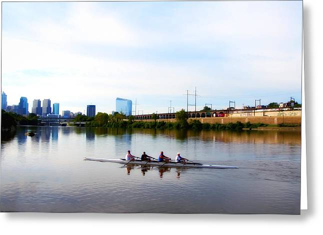 Rowing Greeting Cards - Rowing in Philadelphia Greeting Card by Bill Cannon