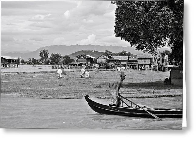 Burma Greeting Cards - Rowing in the Irrawaddy River Greeting Card by RicardMN Photography